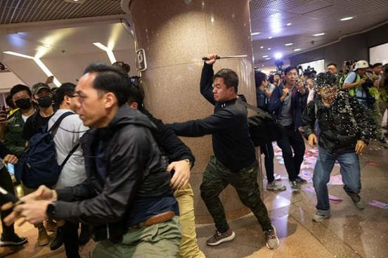 In Hong Kong, the Starbucks cafes were crushed