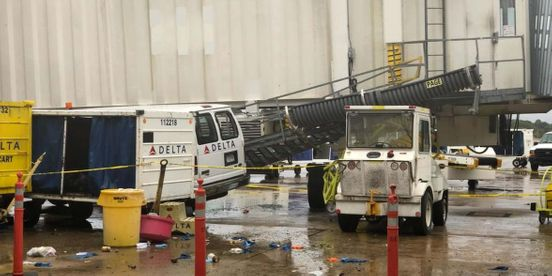 Memphis airport is undergoing repairs following severe weather.