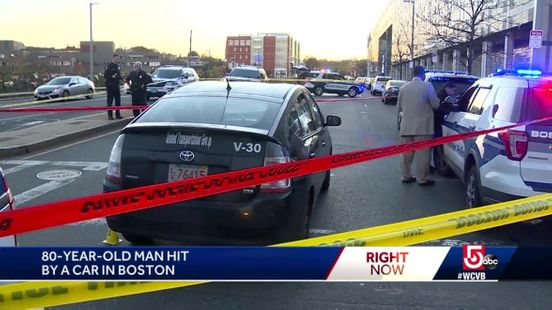 Eighty-year-old man struck by a car outside the police headquarters in Boston